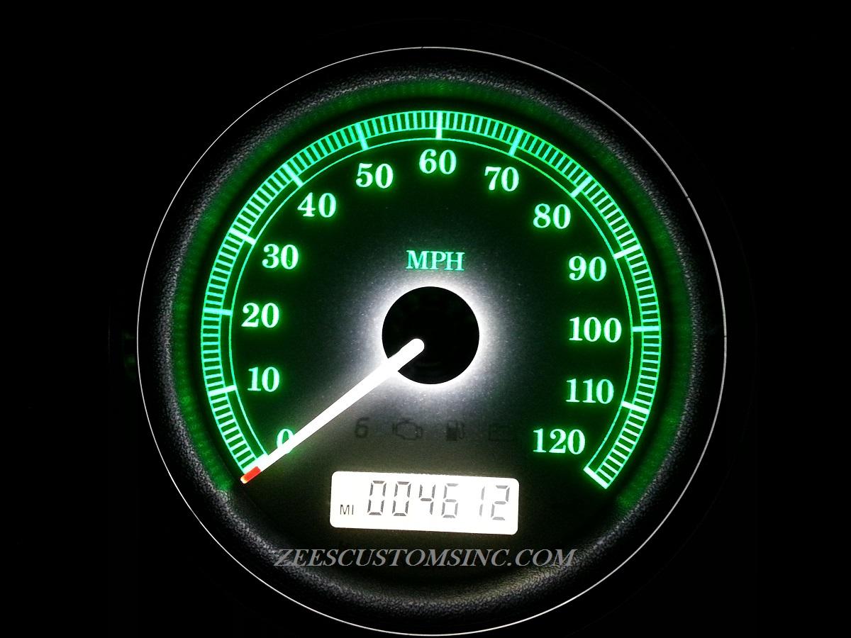 2013 Streetglide Green Backlighting, White Needle, White Odometer