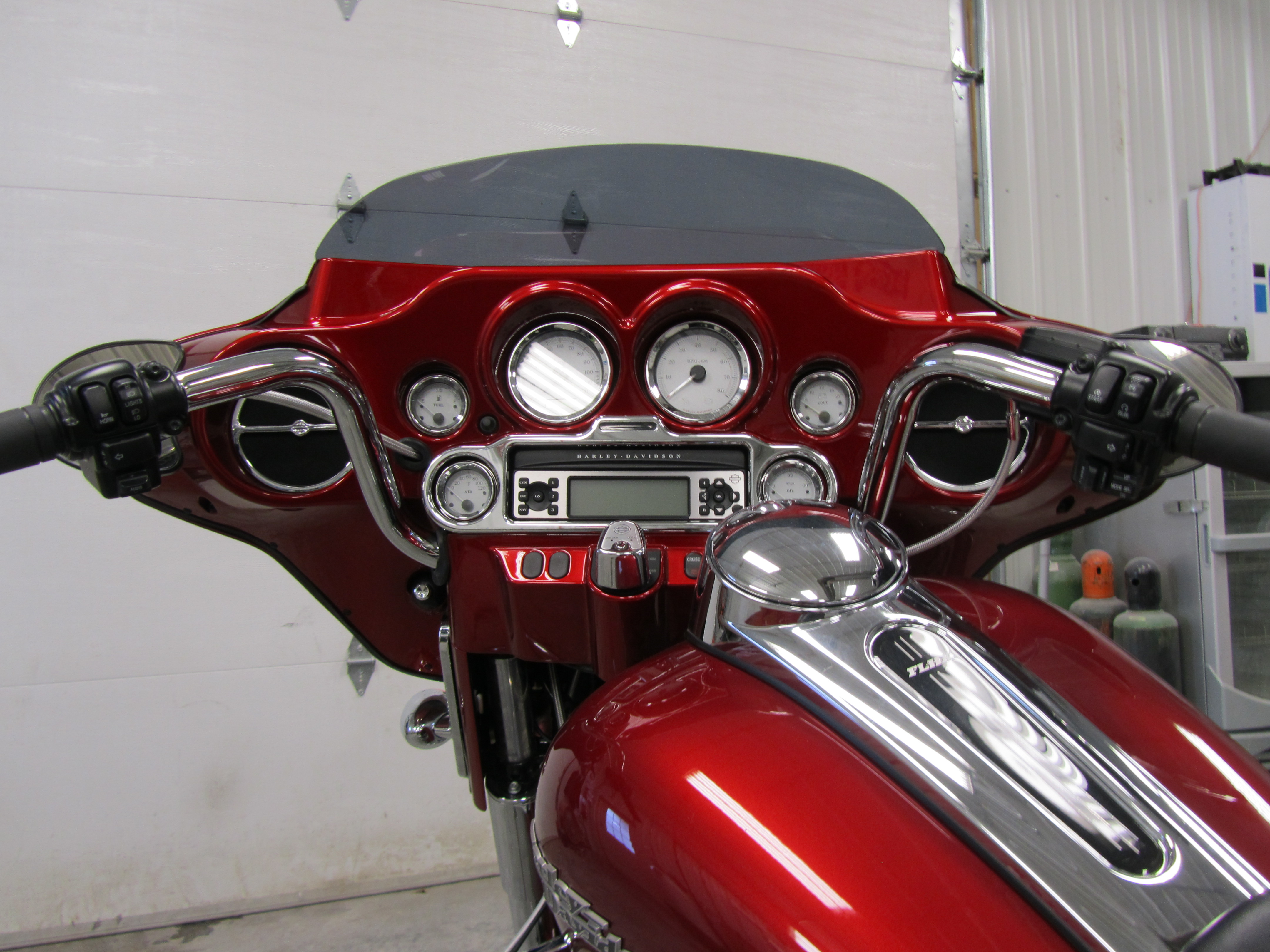 "2012 HD Street Glide Inner fairing (Ember Red Sunglow) With 10"" Chrome Apes"