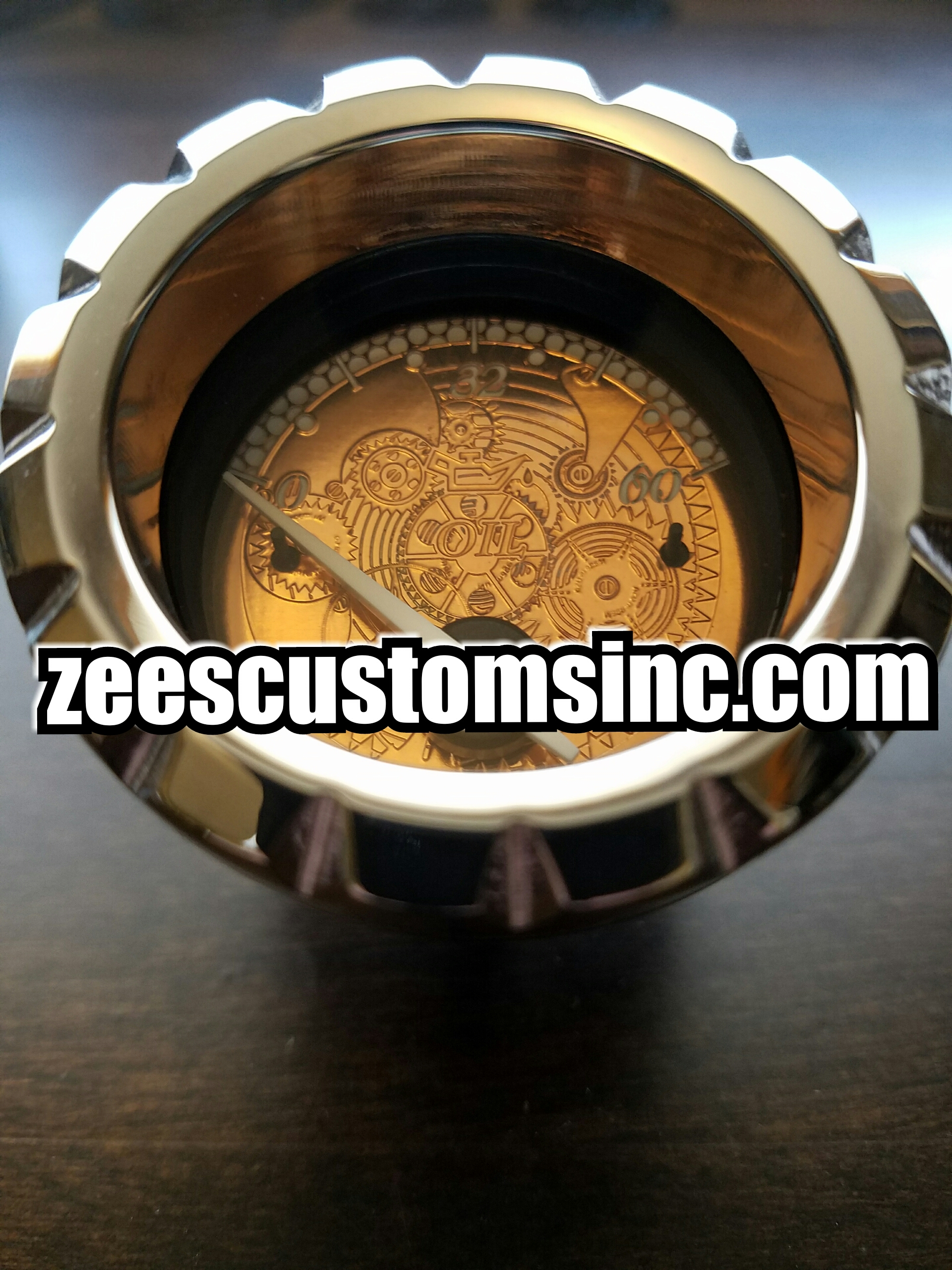 Engraved gear pattern in Real copper! Available for any year or model. With notched chrome bezel