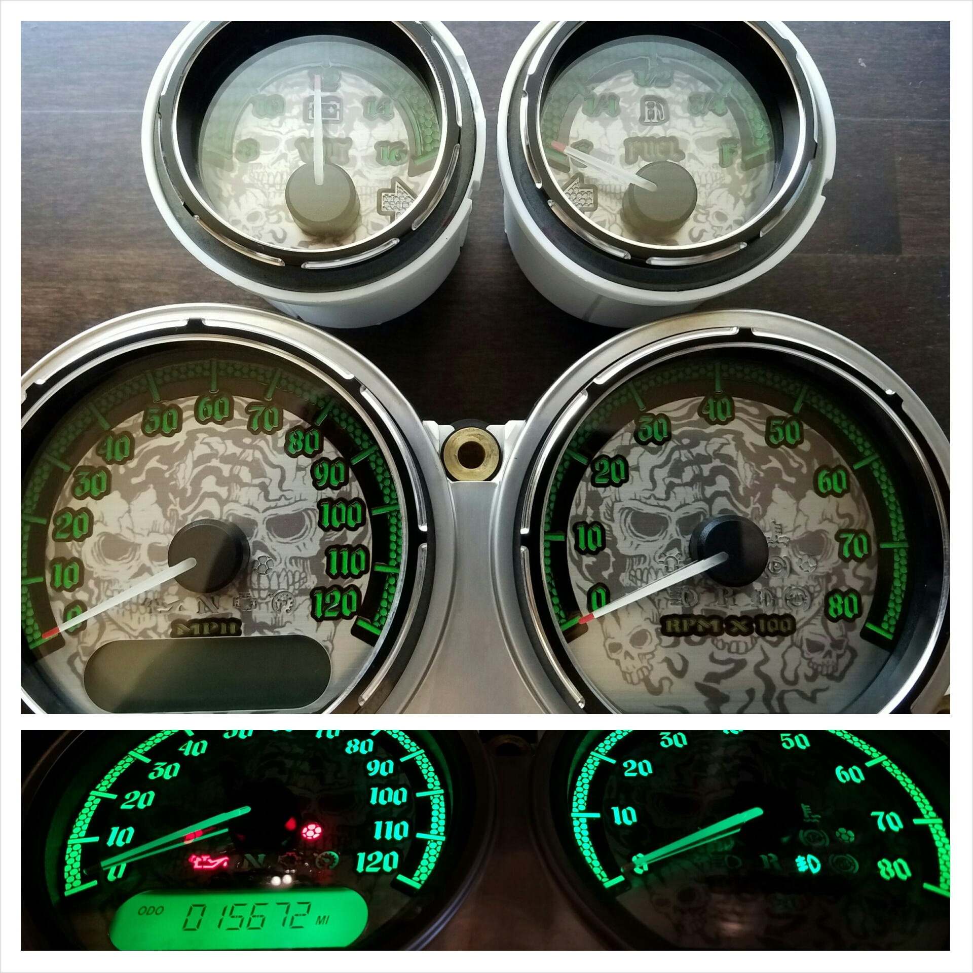 Ghost Skulls with Green numbers, Available for 2000+ all models