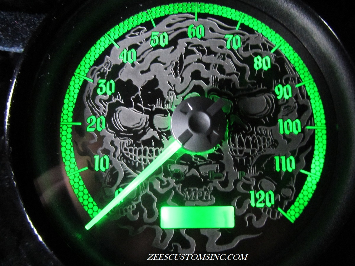 HD Softail Speedo Form Stock To Custom (Skulls) With Green LED's