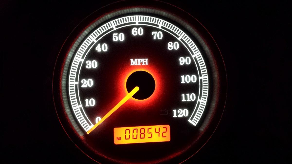 2013 Harley Street Glide Speedo with white l.e.d. numbers/orange needle/orange odometer
