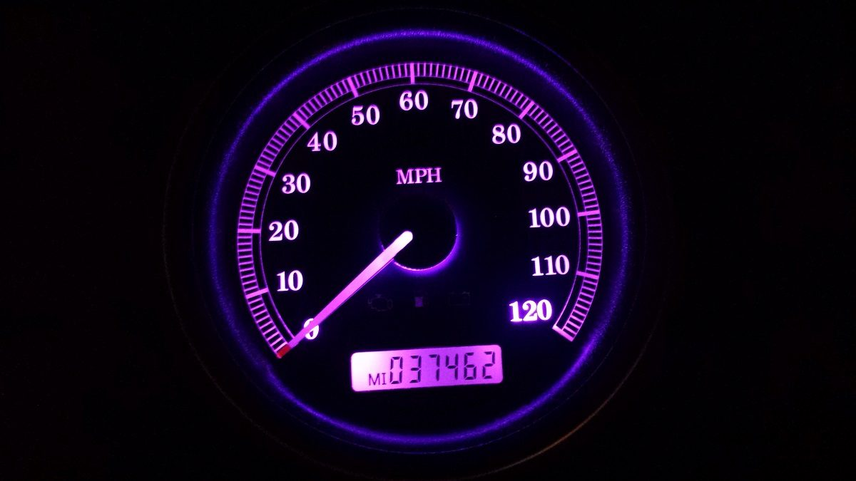 2008 Harley Street Glide Speedo with all purple l.e.d.'s