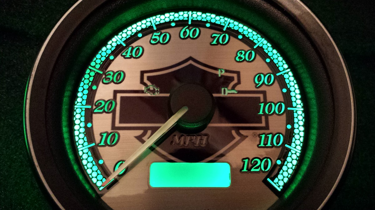 2008 Harley Street Glide Tach with stainless faces/smoke numbers/green l.e.d.'s