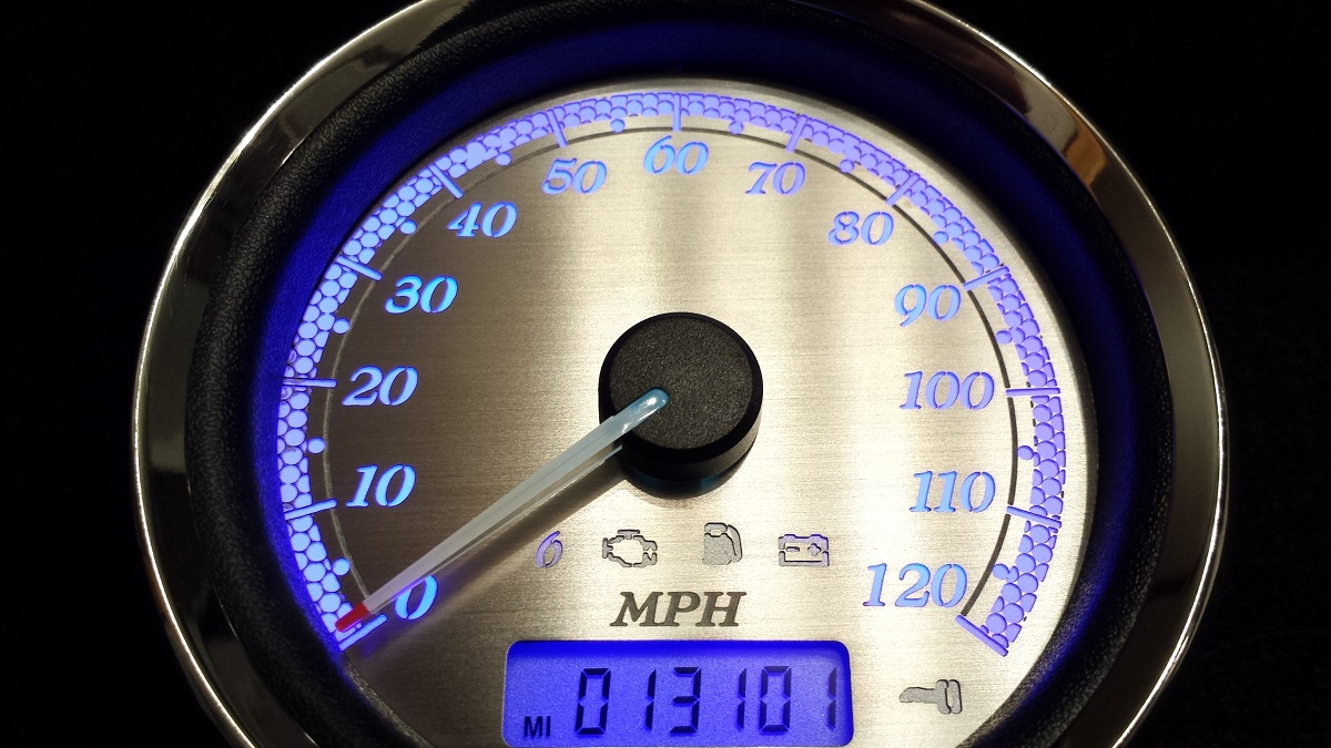 2008 Harley Street Glide Speedo with stainless faces/white numbers/blue l.e.d.'s
