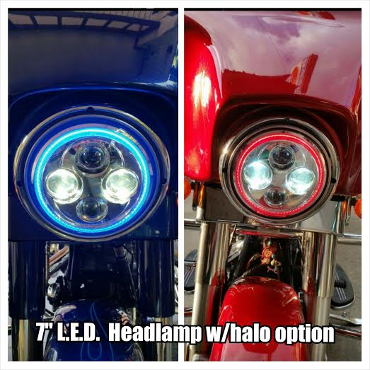 This headlamp has an integrated halo ring.